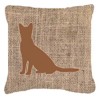 Cat Burlap Indoor/Outdoor Throw Pillow Size: 18 H x 18 W x 5.5 D, Color: Brown