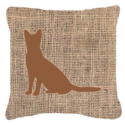 Cat Burlap Indoor/Outdoor Throw Pillow Size: 18 H x 18 W x 5.5 D, Color: Brown
