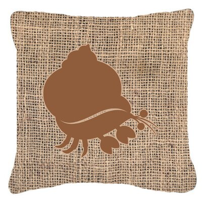 Hermit Crab Burlap Indoor/Outdoor Throw Pillow Size: 14 H x 14 W x 4 D, Color: Brown