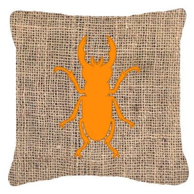 Beetle Burlap Indoor/Outdoor Throw Pillow Size: 14 H x 14 W x 4 D, Color: Orange