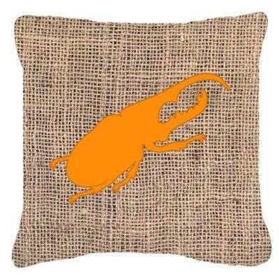 Beetle Burlap Indoor/Outdoor Throw Pillow Size: 18 H x 18 W x 5.5 D, Color: Orange
