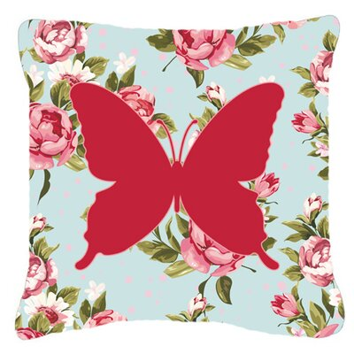 Contemporary Butterfly Shabby Elegance Blue/Pink Roses Indoor/Outdoor Throw Pillow Size: 14 H x 14 W x 4 D