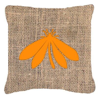 Moth Burlap Indoor/Outdoor Throw Pillow Size: 14 H x 14 W x 4 D, Color: Orange