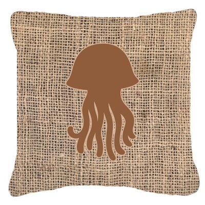 Jellyfish Burlap Indoor/Outdoor Throw Pillow Size: 14 H x 14 W x 4 D, Color: Brown