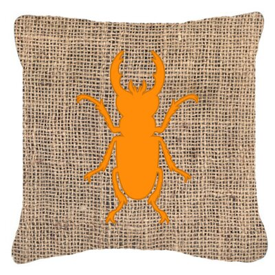 Jasper Contemporary Beetle Burlap Indoor/Outdoor Throw Pillow Size: 18 H x 18 W x 5.5 D, Color: Orange