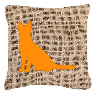 Cat Burlap Indoor/Outdoor Throw Pillow Size: 14 H x 14 W x 4 D, Color: Orange