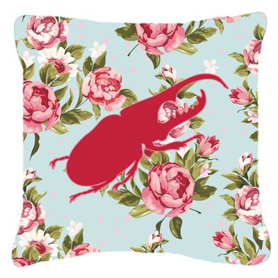 Jasper Beetle Shabby Elegance Blue Roses Indoor/Outdoor Throw Pillow Size: 14 H x 14 W x 4 D