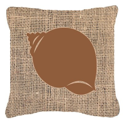 Shell Burlap Indoor/Outdoor Throw Pillow Size: 18 H x 18 W x 5.5 D, Color: Brown