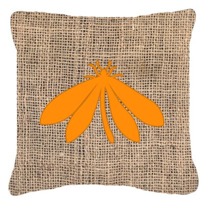 Moth Burlap Indoor/Outdoor Throw Pillow Size: 18 H x 18 W x 5.5 D, Color: Orange