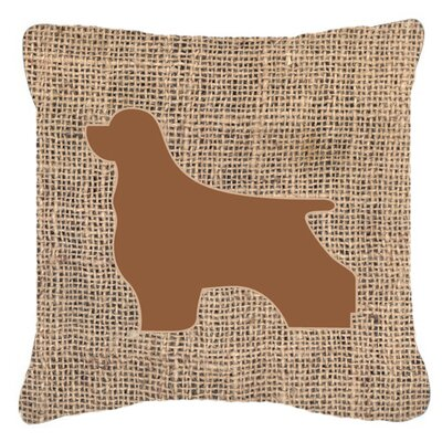 Cocker Spaniel Burlap Indoor/Outdoor Throw Pillow Size: 14 H x 14 W x 4 D, Color: Brown