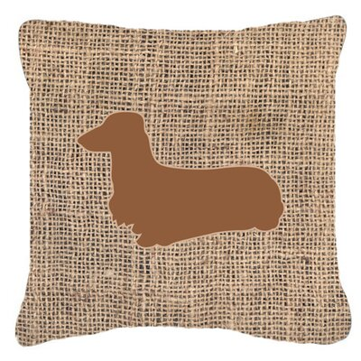 Dachshund Burlap Indoor/Outdoor Throw Pillow Size: 14 H x 14 W x 4 D, Color: Brown