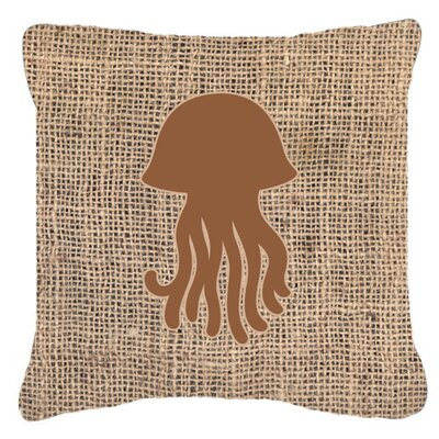 Jellyfish Burlap Indoor/Outdoor Throw Pillow Size: 18 H x 18 W x 5.5 D, Color: Brown