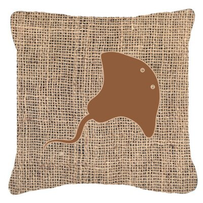Stingray Burlap Indoor/Outdoor Throw Pillow Size: 18 H x 18 W x 5.5 D, Color: Brown