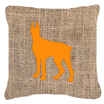 Great Dane Burlap Indoor/Outdoor Throw Pillow Size: 18 H x 18 W x 5.5 D, Color: Orange