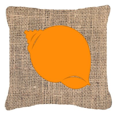 Shell Burlap Indoor/Outdoor Throw Pillow Size: 14 H x 14 W x 4 D, Color: Orange
