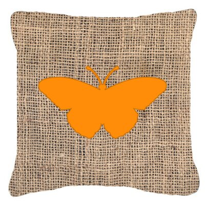 Butterfly Burlap Indoor/Outdoor Throw Pillow Size: 14 H x 14 W x 4 D, Color: Orange