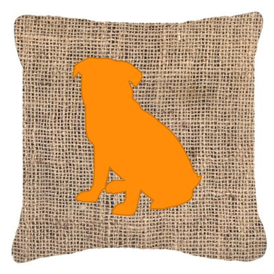 Pug Burlap Indoor/Outdoor Throw Pillow Size: 18 H x 18 W x 5.5 D, Color: Orange