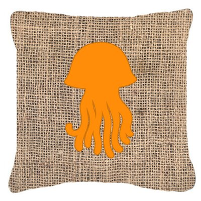 Jellyfish Burlap Indoor/Outdoor Throw Pillow Size: 14 H x 14 W x 4 D, Color: Orange