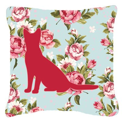Cat Shabby Elegance Blue Roses Indoor/Outdoor Throw Pillow Size: 14 H x 14 W x 4 D