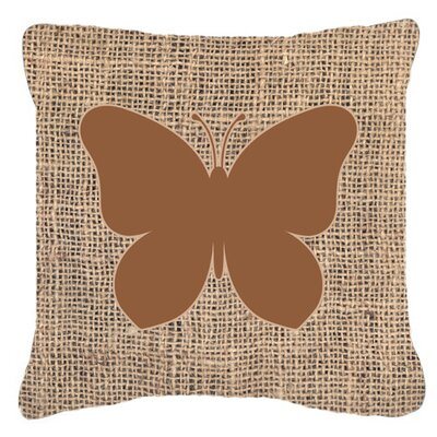 Butterfly Burlap Fade Resistant Indoor/Outdoor Throw Pillow Size: 18 H x 18 W x 5.5 D, Color: Brown