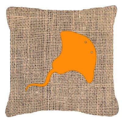 Stingray Burlap Indoor/Outdoor Throw Pillow Size: 14 H x 14 W x 4 D, Color: Orange
