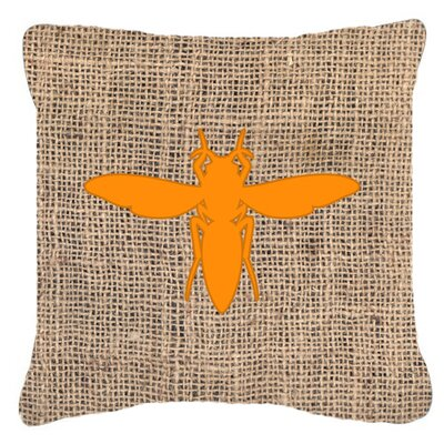 Yellow Jacket Burlap Indoor/Outdoor Throw Pillow Size: 14 H x 14 W x 4 D, Color: Orange