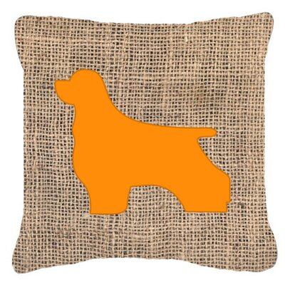 Cocker Spaniel Burlap Indoor/Outdoor Throw Pillow Size: 14 H x 14 W x 4 D, Color: Orange