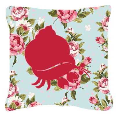 Hermit Crab Shabby Elegance Blue Roses Indoor/Outdoor Throw Pillow Size: 14 H x 14 W x 4 D