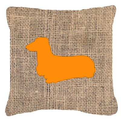 Dachshund Burlap Indoor/Outdoor Throw Pillow Size: 14 H x 14 W x 4 D, Color: Orange