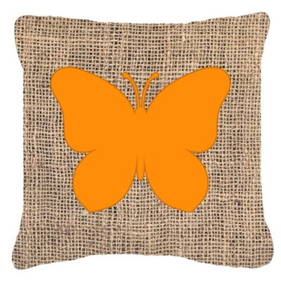 Butterfly Burlap Fade Resistant Indoor/Outdoor Throw Pillow Size: 14 H x 14 W x 4 D, Color: Orange