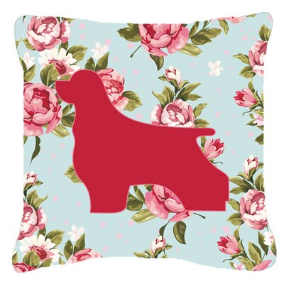 Cocker Spaniel Shabby Elegance Blue Roses Indoor/Outdoor Throw Pillow Size: 14 H x 14 W x 4 D