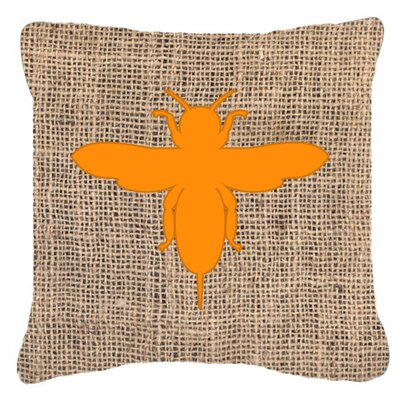 Jesse Bee Burlap Indoor/Outdoor Throw Pillow Size: 14 H x 14 W x 4 D, Color: Orange
