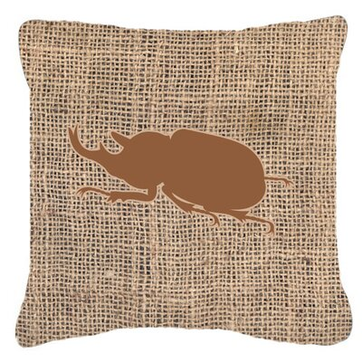 Jasper Beetle Burlap Indoor/Outdoor Throw Pillow Size: 18 H x 18 W x 5.5 D, Color: Brown