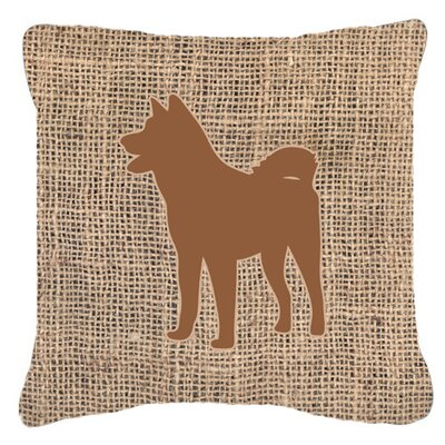 Akita Burlap Indoor/Outdoor Throw Pillow Size: 14 H x 14 W x 4 D, Color: Brown