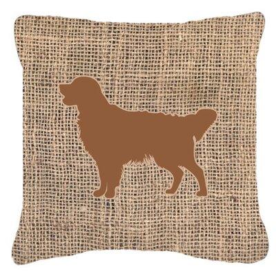 Golden Retriever Burlap Indoor/Outdoor Throw Pillow Size: 14