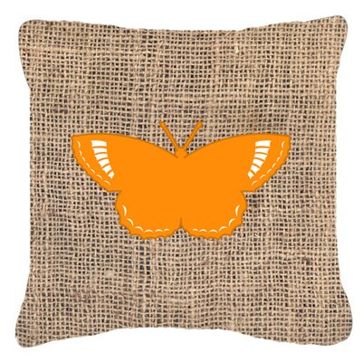 Modern Butterfly Burlap Mildew Resistant Indoor/Outdoor Throw Pillow Size: 14 H x 14 W x 4 D, Color: Orange