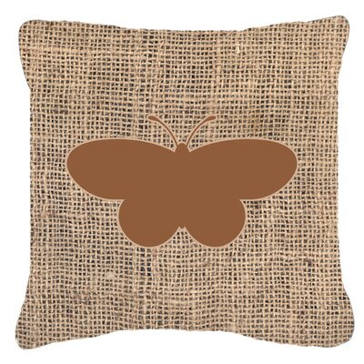 Elegant Butterfly Burlap Water Resistant Indoor/Outdoor Throw Pillow Size: 14 H x 14 W x 4 D, Color: Brown