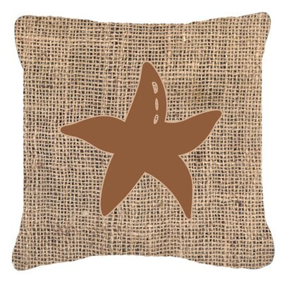 Starfish Burlap Indoor/Outdoor Throw Pillow Size: 14 H x 14 W x 4 D, Color: Brown