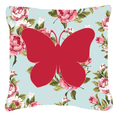 Butterfly Shabby Elegance Blue/Pink Roses Square Indoor/Outdoor Throw Pillow Size: 14 H x 14 W x 4 D