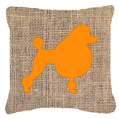 Poodle Burlap Indoor/Outdoor Throw Pillow Size: 14 H x 14 W x 4 D, Color: Orange