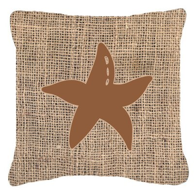 Starfish Burlap Indoor/Outdoor Throw Pillow Size: 18 H x 18 W x 5.5 D, Color: Brown