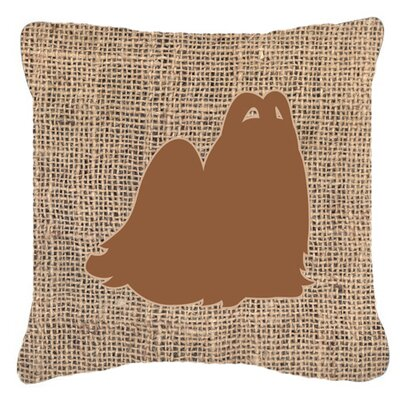 Maltese Burlap Indoor/Outdoor Throw Pillow Size: 14 H x 14 W x 4 D, Color: Brown