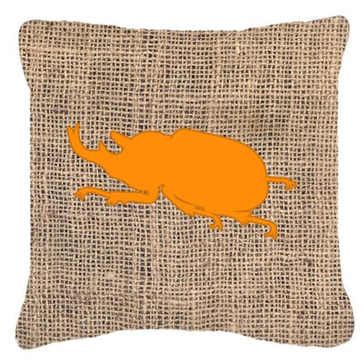 Beetle Burlap Indoor/Outdoor Throw Pillow Size: 18 H x 18 W x 5.5 D, Color: Orange