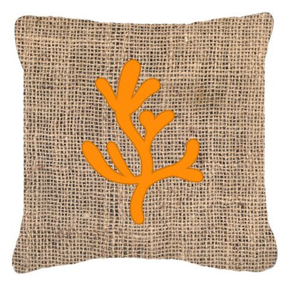 Coral Burlap Indoor/Outdoor Throw Pillow Size: 14 H x 14 W x 4 D, Color: Orange
