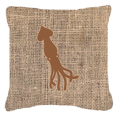 Squid Burlap Indoor/Outdoor Throw Pillow Size: 14 H x 14 W x 4 D, Color: Brown