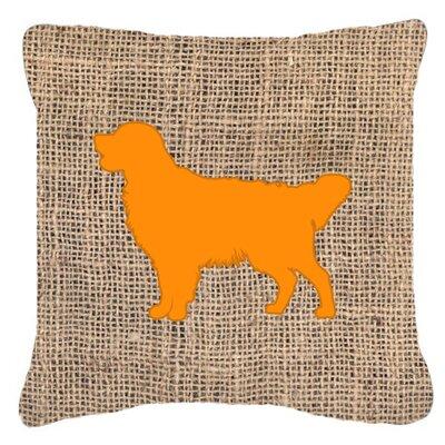 Golden Retriever Burlap Indoor/Outdoor Throw Pillow Size: 14 H x 14 W x 4 D, Color: Orange