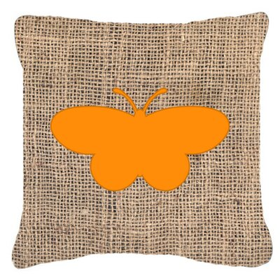 Elegant Butterfly Burlap Water Resistant Indoor/Outdoor Throw Pillow Size: 14 H x 14 W x 4 D, Color: Orange