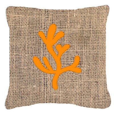 Coral Burlap Indoor/Outdoor Throw Pillow Size: 18 H x 18 W x 5.5 D, Color: Orange