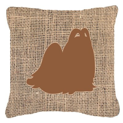 Maltese Burlap Indoor/Outdoor Throw Pillow Size: 18 H x 18 W x 5.5 D, Color: Brown
