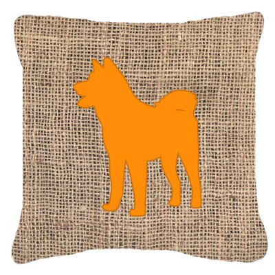 Akita Burlap Indoor/Outdoor Throw Pillow Size: 18 H x 18 W x 5.5 D, Color: Orange
